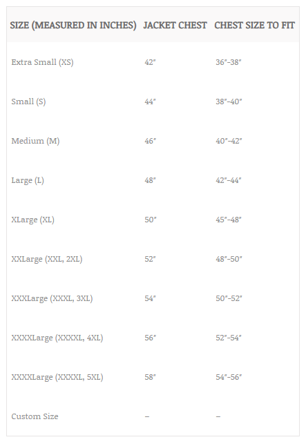mens leather jacket size chart