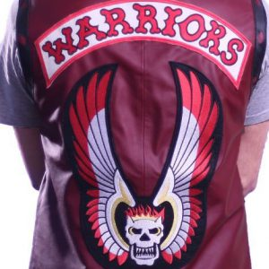mens skull warriors leather vest