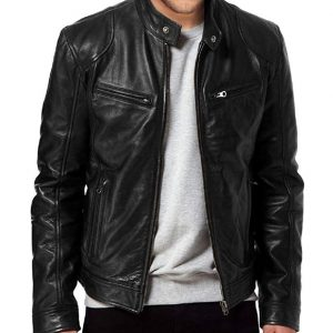 Mens Black Sword Leather Jacket