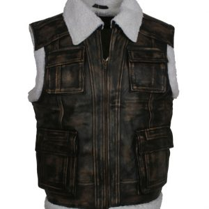 Distressed Black Fur Leather Vest