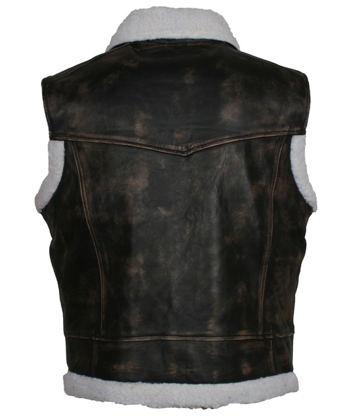 Distressed Black Fur Leather Vest for mens