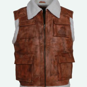 Distressed Brown Fur Leather Vest