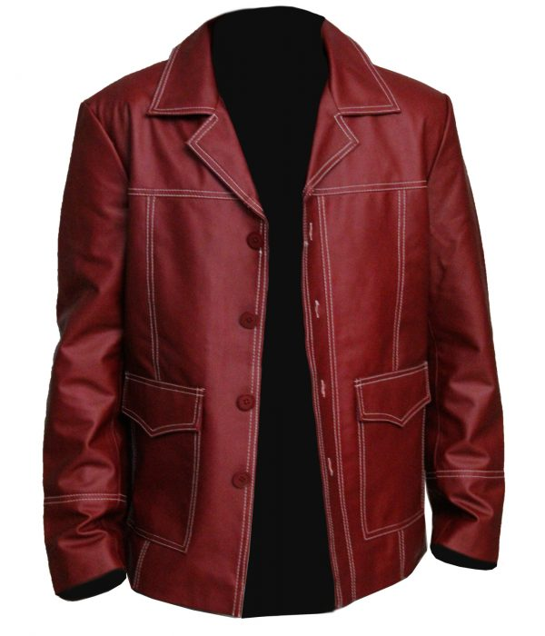 Brad Pitt Red Leather Fight Club Jacket