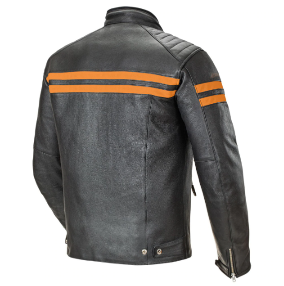 Joe Rocket Leather Jacket black with orange strap