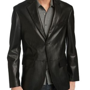 Slim Fit Blazer Coat Leather