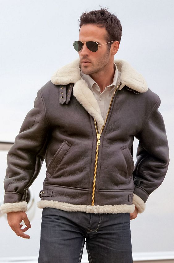 Mens B3 Bomber Jacket Leather Aviator Jacket