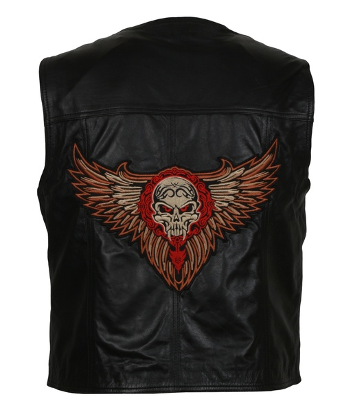 Men's Biker Skull With Wings Patch Leather Vest