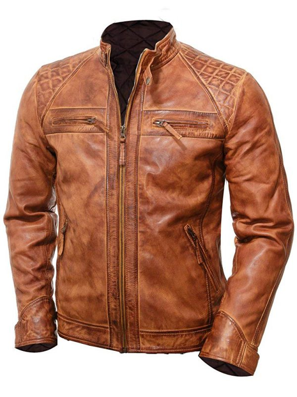 Men's Brown Cafe Racer Style Motorcycle Jacket