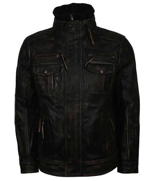 Men's Distressed Black Motorcycle Leather Jacket