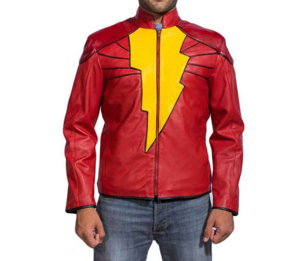 Billy Batson Shazam Leather Jacket For Men
