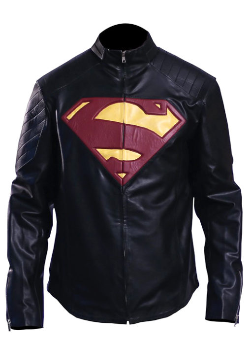 Superman Motorcycle Leather Jacket Black