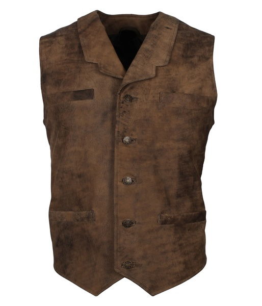 Vintage Style Distressed Brown Leather Vest For Men