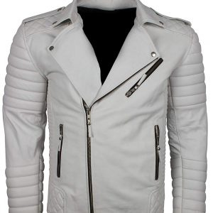 White Boda Biker Leather Jacket For Men