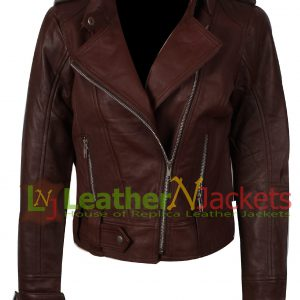 Women's Brown Leather Jacket Asymmetrical Style