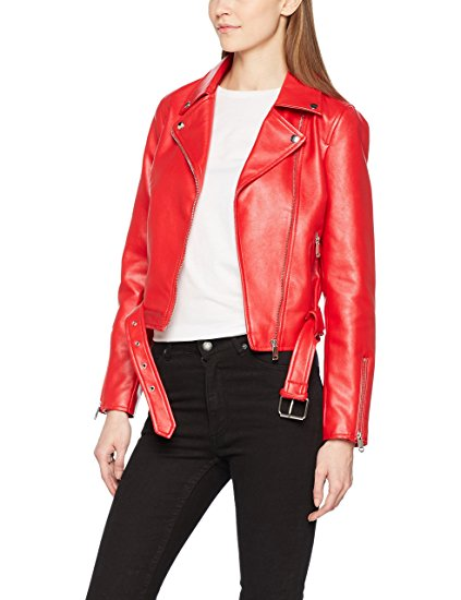 Womens Red Biker Style Leather Jacket