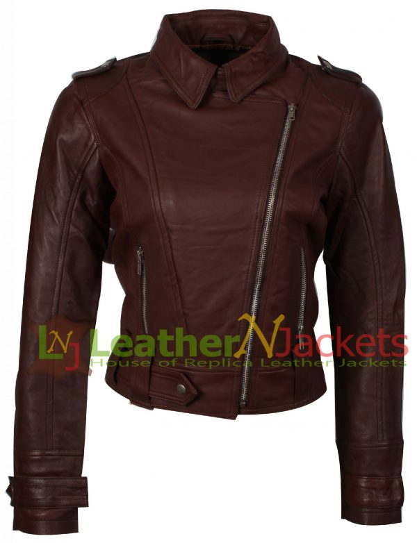 Women's brown motorcycle leather jacket stylish