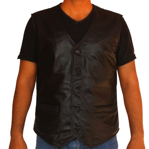 Bandit Men's Ghost Leather Motorcycle Club Leather Vest