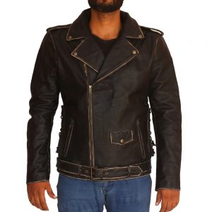 Men's Distressed Black Skull Theme Stylish Leather Jacket