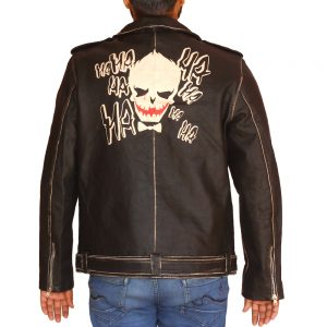 Men's Halloween Face Print Motorcycle Leather Jacket