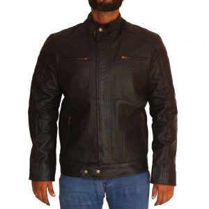Men's Black Motorcycle Sheepskin Leather Jacket