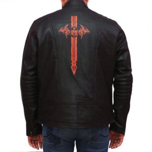Men's Black Skull Sword Fashion Leather Jacket