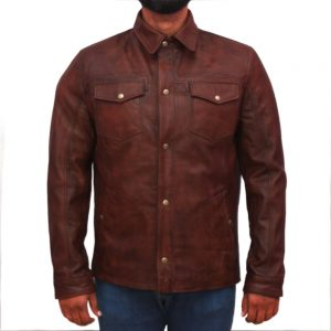 Men's Brown Leather Jacket With Shirt Collar