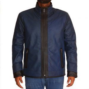 Men's Stylish Blue Racer Leather Jacket