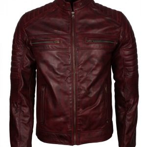 Men's Maroon Cafe Racer Leather Jacket