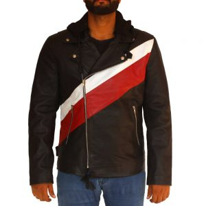 Mens Designer Leather Jacket With Hood
