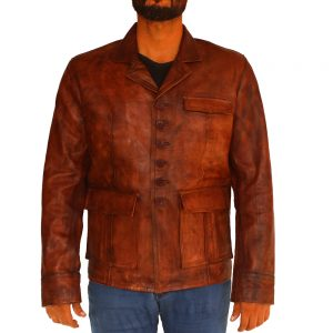 Men's Vintage Distressed Brown Leather Jacket